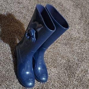 Chanel Navy Camellia Rain Boots/Booties